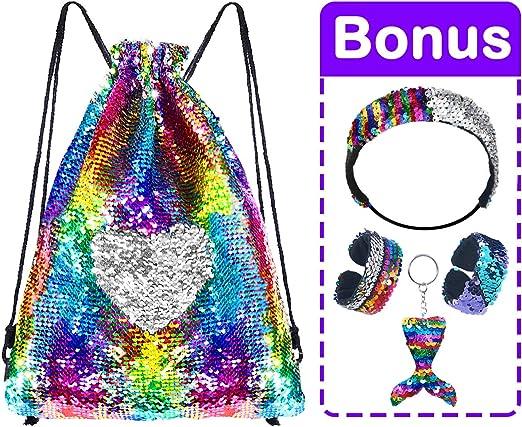 Mermaid Reversible Sequin Drawstring Backpack for Kids Girls with Bonus Slap Bracelet /&Purses /& Headband /& Keychain Set