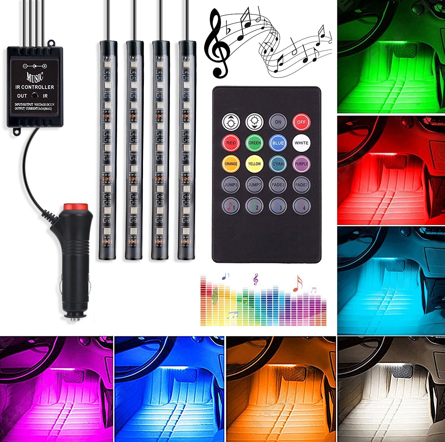 Automotive LED Decor Strip Lights, 4pcs 48 LED Lights DV 12V Car Colorful Music RGB LED Interior Lighting, Car Decorative Lights, with Sound-Activated, APP Controller, Car Charger Included Wanmingtek AUTODELIGHTS