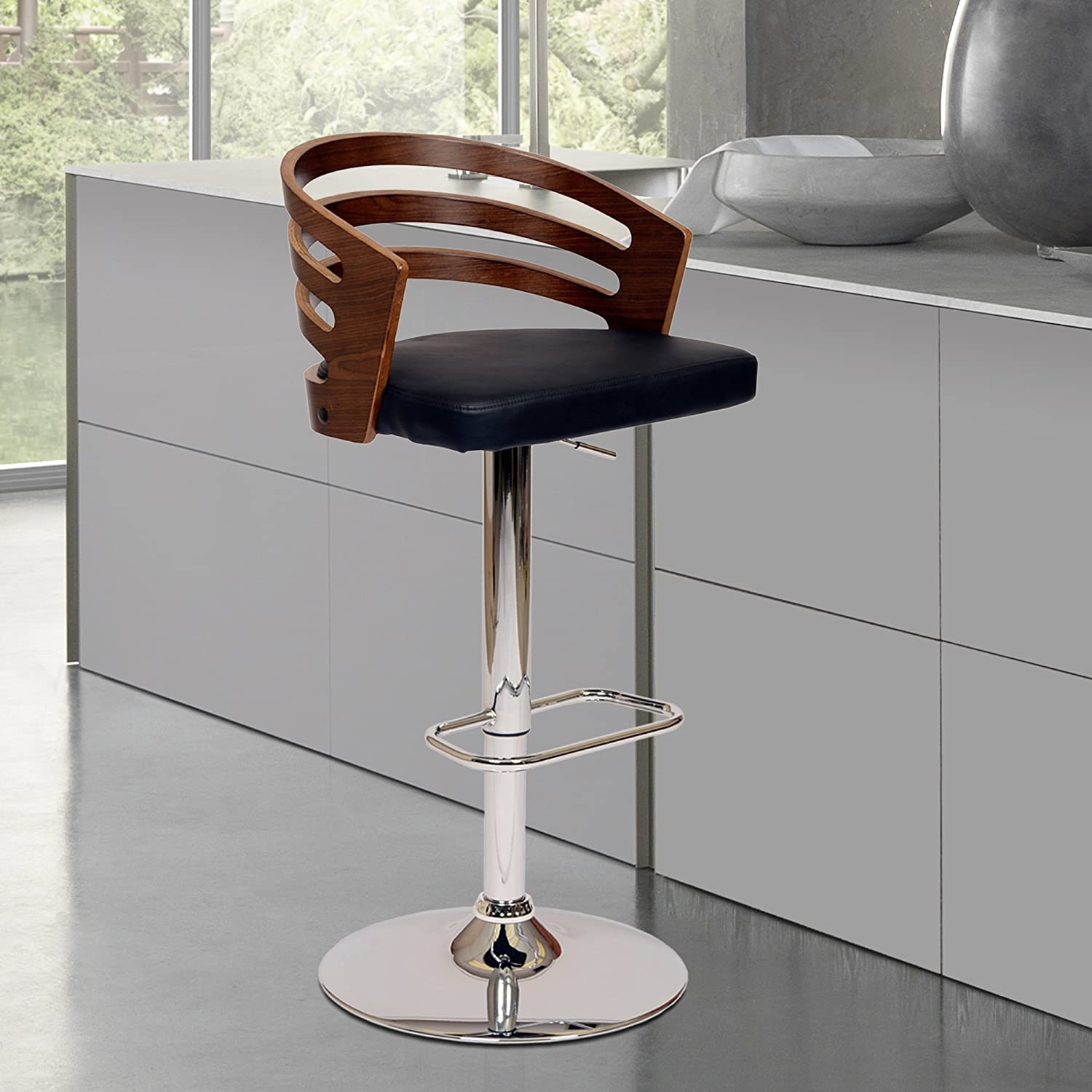 Armen Living LCADSWBABLWA Adele Swivel Barstool in Black Faux Leather and Chrome Finish, 36-44 Adjustable Height