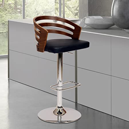 Armen Living LCADSWBABLWA Adele Swivel Barstool in Black Faux Leather and Chrome Finish