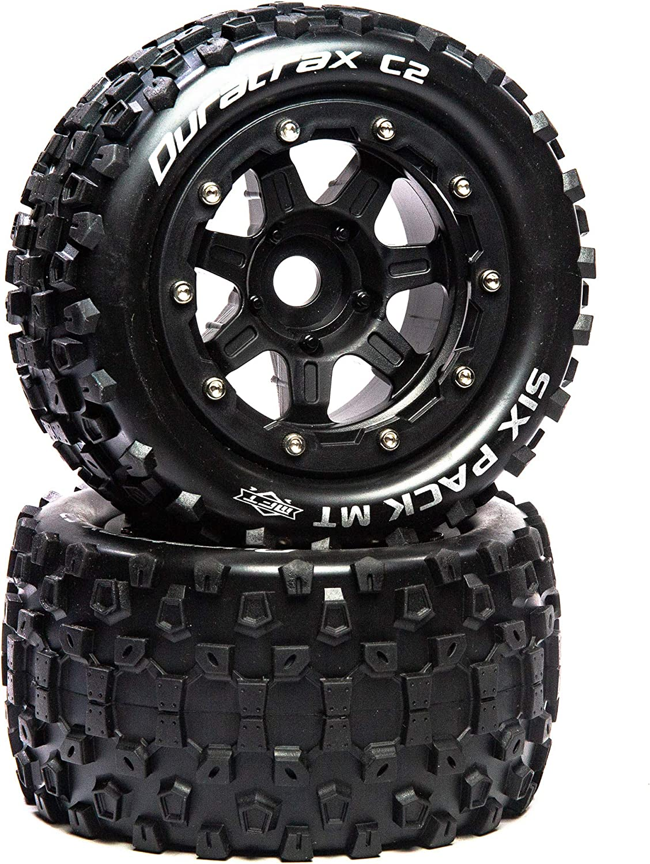 Black Duratrax Sixpack MT Belt 2.8 Mounted Front//Rear Tires .5 Offset 17mm DTXC5604 2