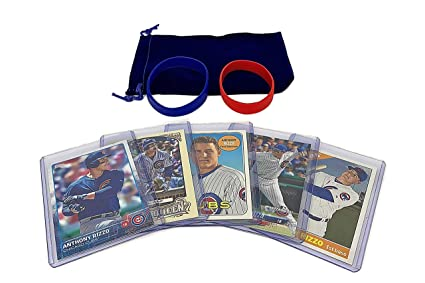 Anthony Rizzo Baseball Cards 5 Assorted Chicago Cubs Trading Card And Wristbands Gift Bundle