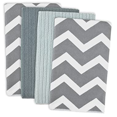 DII Microfiber Multi-Purpose Cleaning Towels Perfect for Kitchens, Dishes, Car, Dusting, Drying Rags, 16 x 19, Set of 4 - Gray Chevron