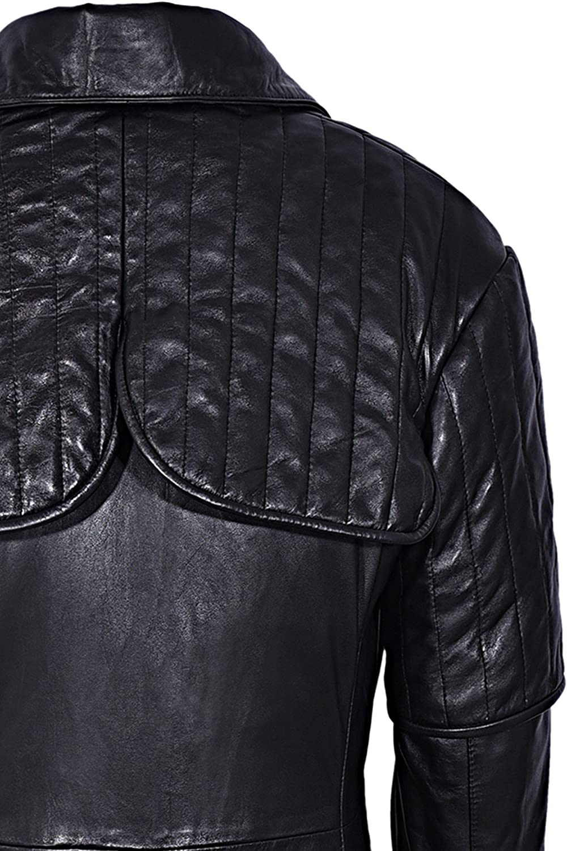 Mens Captain Black Full-Length Van Helsing Duster Nappa Leather Jacket Coat