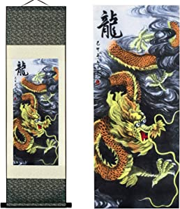 UNIQUELOVER Asian Silk Scroll & Home Decorate Chinese Dragon Picture Scroll & Wall Scroll Hanging Artwork Painting