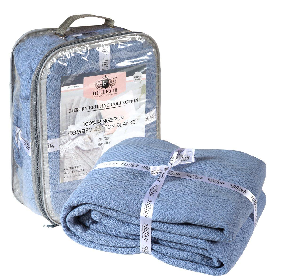 HILLFAIR 100% Ringspun Combed Cotton Blanket - Herringbone Cotton Blanket- Twin Blankets - Cotton Thermal Blankets - Soft Light Weight Cotton Blanket – Twin Bed Blankets– White Cotton Blankets