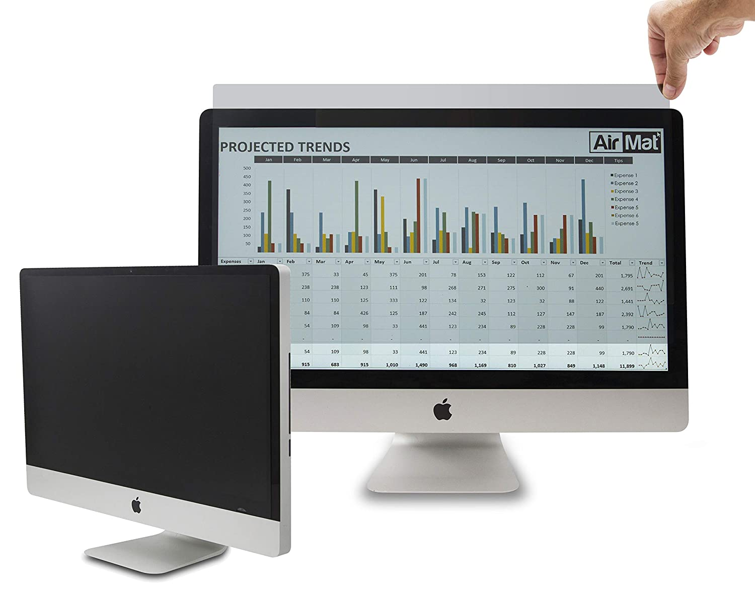 Computer Privacy Screen Filter for 21.5 inch Widescreen Display Monitors by AirMat. Anti Glare Protector Film for Data Confidentiality. (21.5' Widescreen 16:9, Black) Air Mat 4328377333