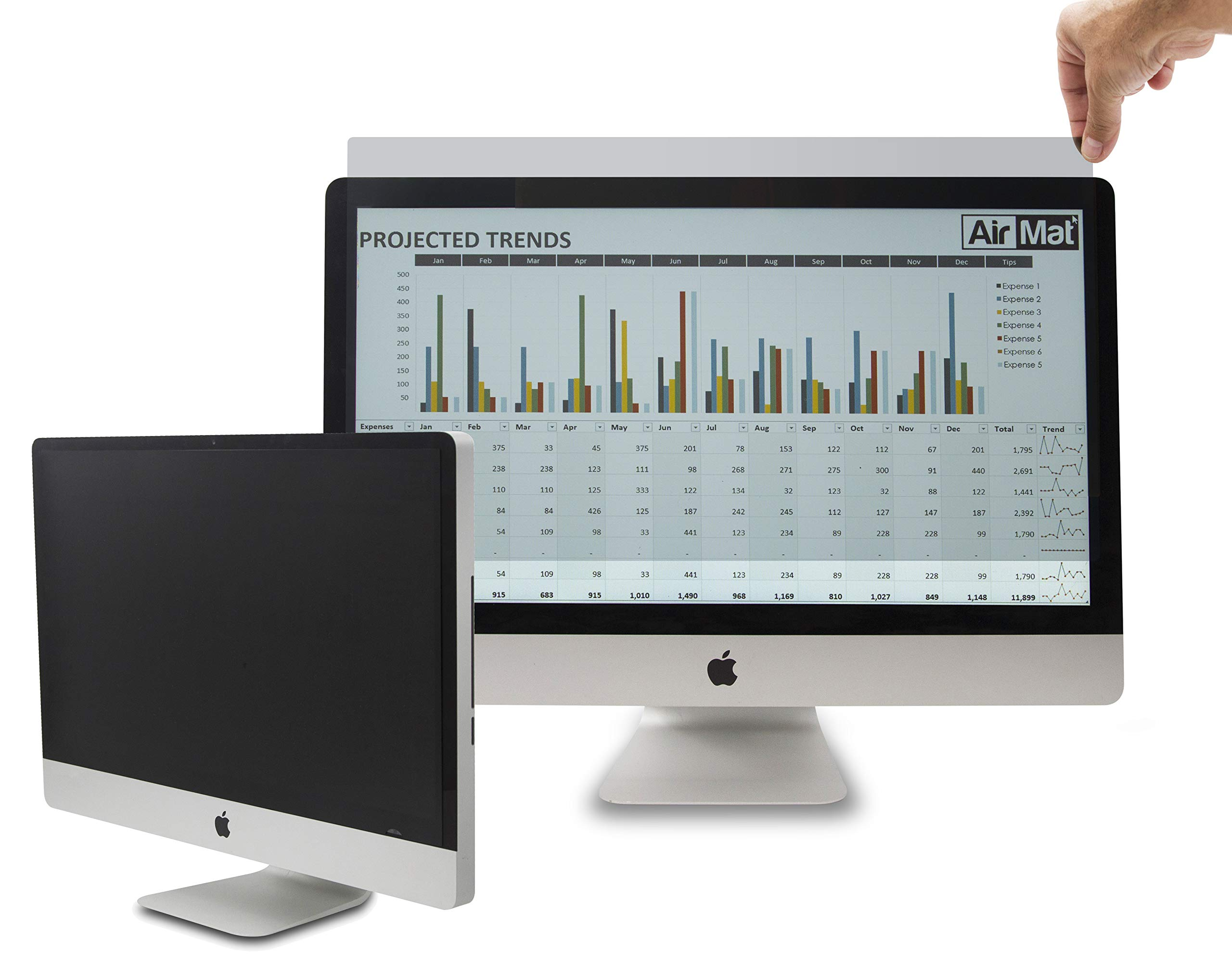 Computer Privacy Screen Filter for 27 inch Widescreen Display Monitors by AirMat. Anti Glare Protector Film for Data Confidentiality. (27'' Widescreen 16:9, Black)
