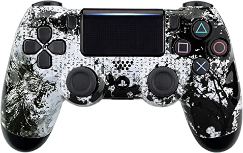 eXtremeRate Lion Soul Patterned Front Housing Shell Case, Glossy Faceplate Cover Replacement Kit for Playstation 4 PS4 Slim PS4 Pro CUH-ZCT2 JDM-040 JDM-050 JDM-055 Controller