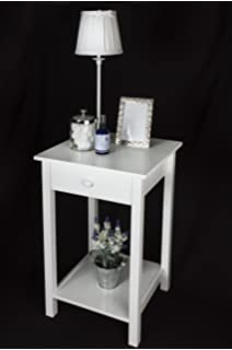 (53175 Square) Elegant White Wooden Square Side Table , One Drawer And  Lower Shelf