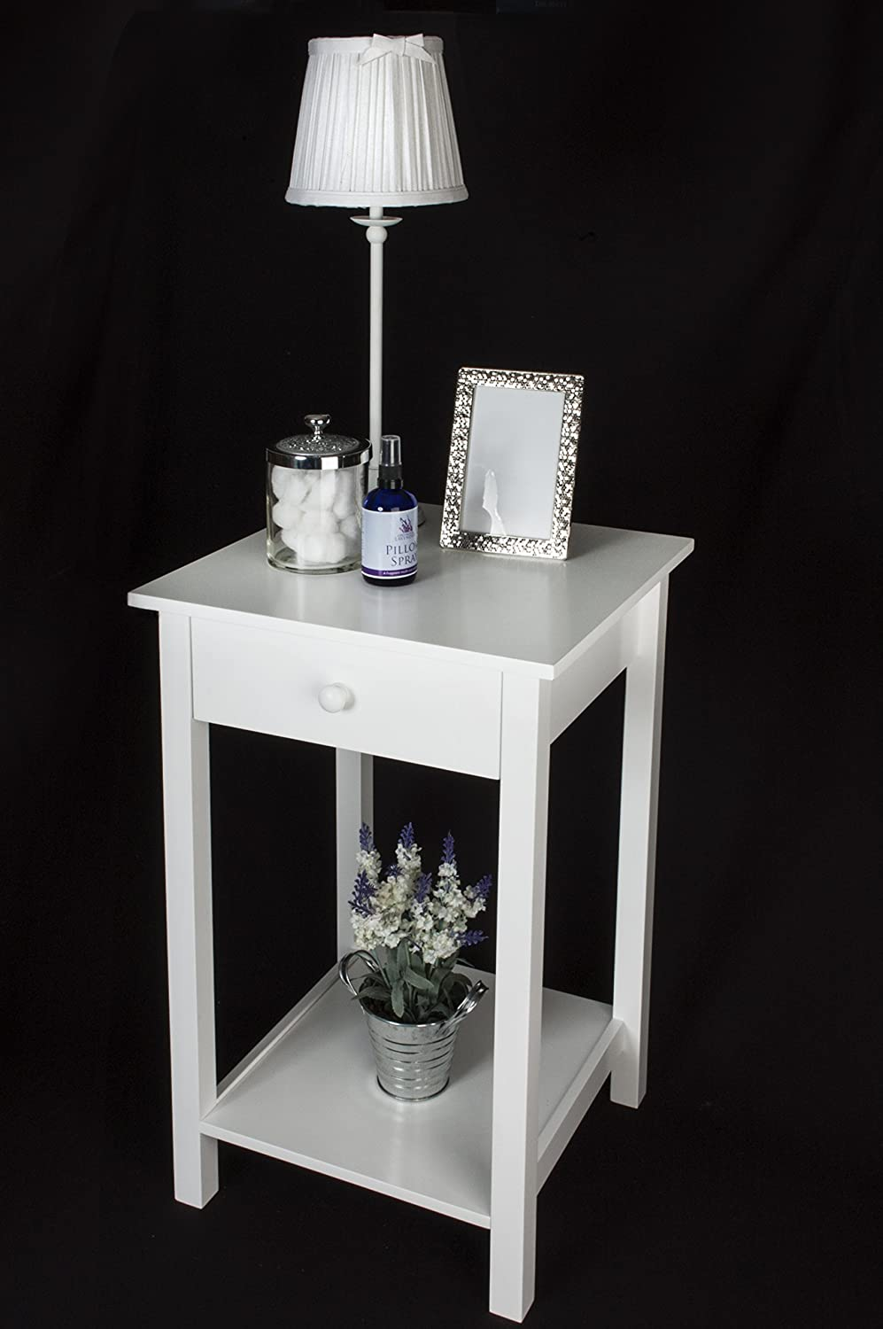53175 square white wooden square side table one drawer