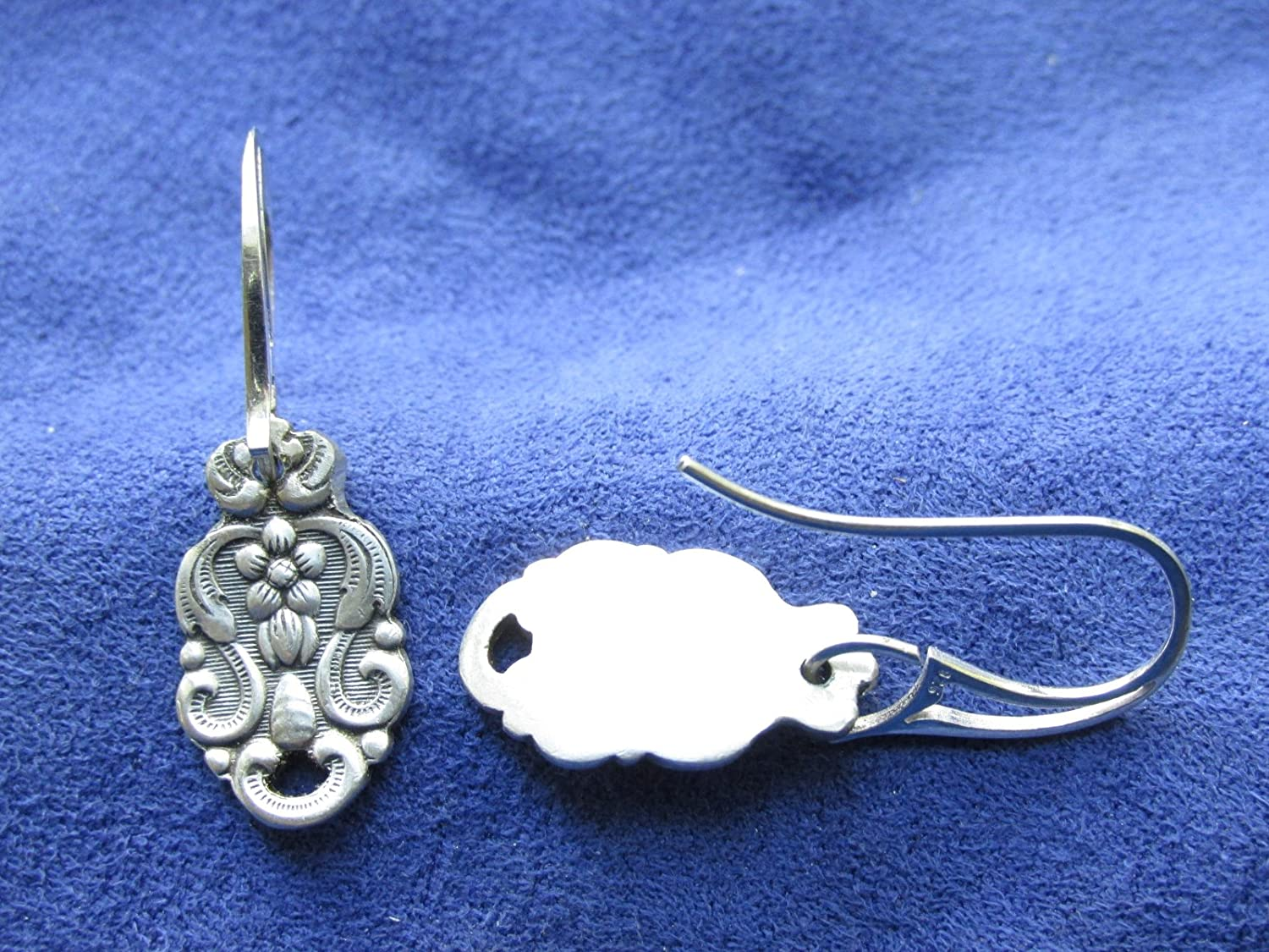 Swedish Flatware Earrings With Sterling Wire Tops Et Spoon Fork Ub 2 Blue Diamond 167 A Silverware Silverspoon Jewelry