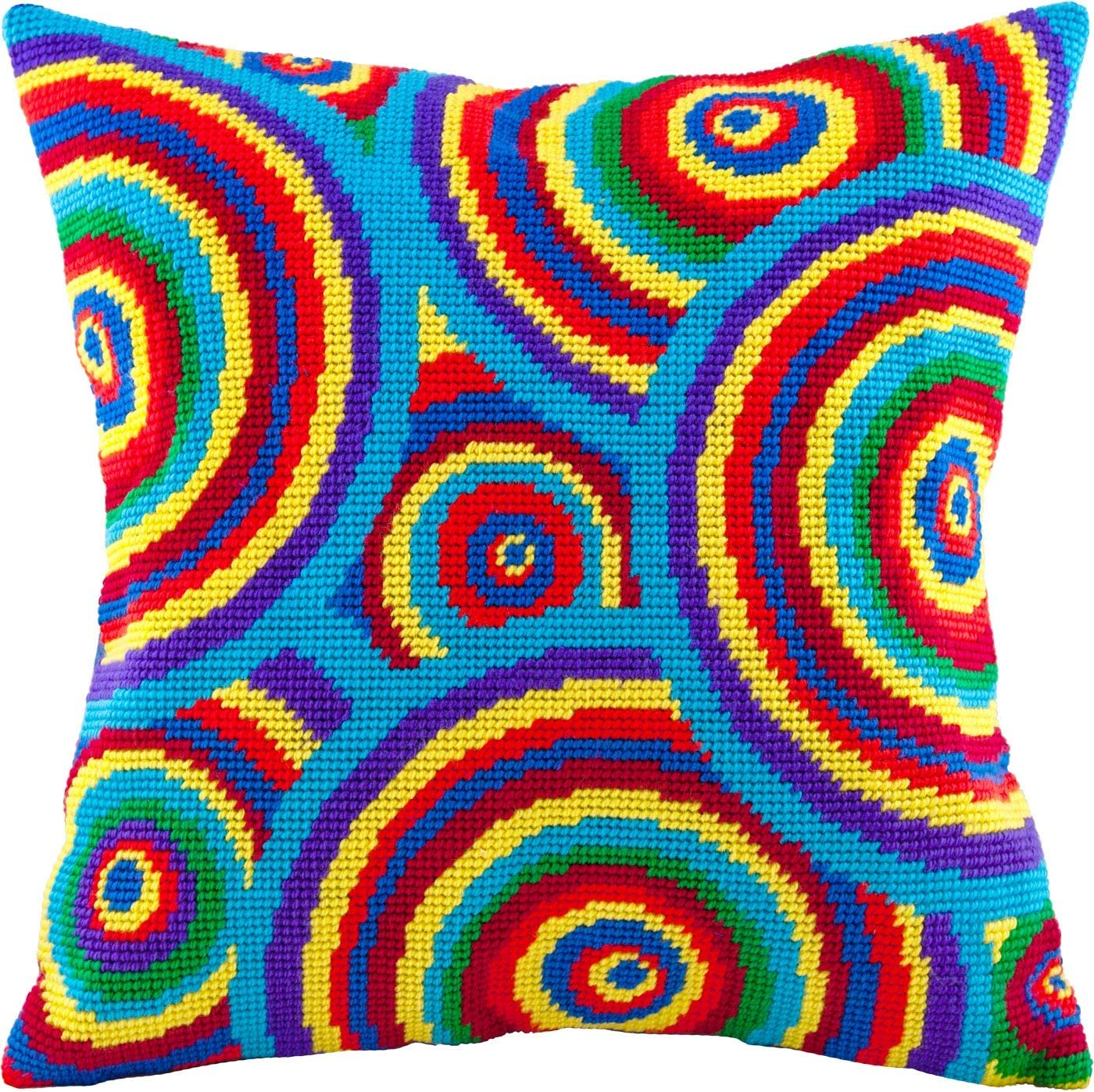 Needlepoint Kit Throw Pillow 16/×16 Inches European Quality Printed Tapestry Canvas Rainbow Circles
