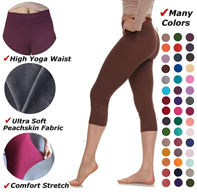 c3179824093236 Lush Moda Extra Soft Leggings - Variety of Colors -Plus Size Yoga Waist -  Brown