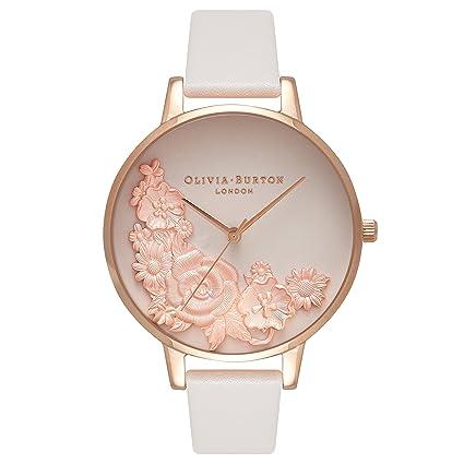 Olivia Burton Reloj Analógico para Mujer de Cuarzo con Correa en Cuero OB16FS85: Amazon.es: Relojes