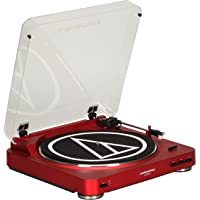 Audio-Technica AT-LP60RD Fully Automatic Stereo Turntable System (Red) + Deco Essentials Audio Jack Adapter Cable + Deco Gear Bluetooth Adapter