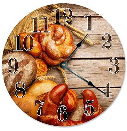 Sugar Vine Art Bread Wheat and Wood Clock Decorative Round Wall Clock Home Decor Large 10.5""