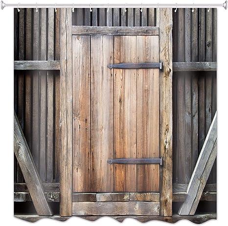 A.Monamour Rústico Retro Jardín Valla Tablones De Madera Granero Puerta De Garaje 3D Tejido De Poliéster Resistente Al Moho Resistente Cortinas De Ducha De Tela Poliester para El Baño 150x180 cm: Amazon.es: