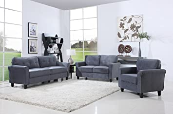 Classic Living Room Furniture Set Sofa Love Seat Accent Chair Dark Grey