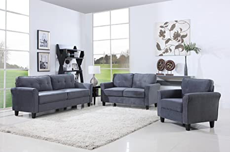 Miraculous Classic Living Room Furniture Set Sofa Love Seat Accent Chair Dark Grey Pdpeps Interior Chair Design Pdpepsorg