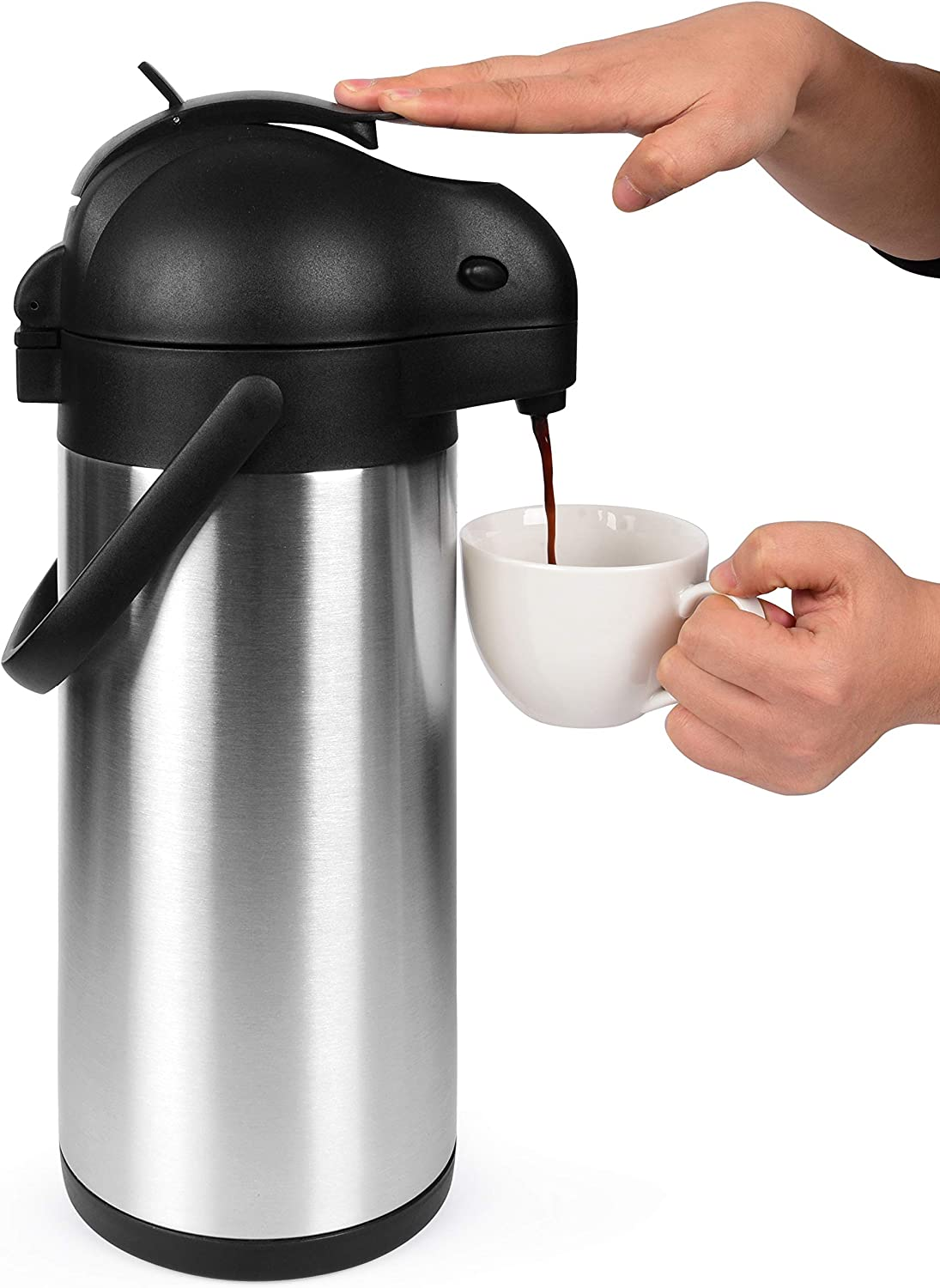 Cresimo 101 Oz (3L) Airpot Thermal Coffee Carafe and Coffee Server/Lever Action/Stainless Steel Insulated Flask / 12 Hour Heat Retention / 24 Hour Cold Retention (Airpot)