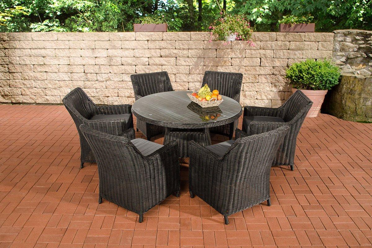 CLP Polyrattan Sitzgruppe GINOSA schwarz, rundes 5 mm Rattan, Aluminium Gestell (6 x Sessel Sandnes + runder Tisch Ø 130 cm + 10 cm dicke Polster) schwarz, Bezugfarbe eisengrau