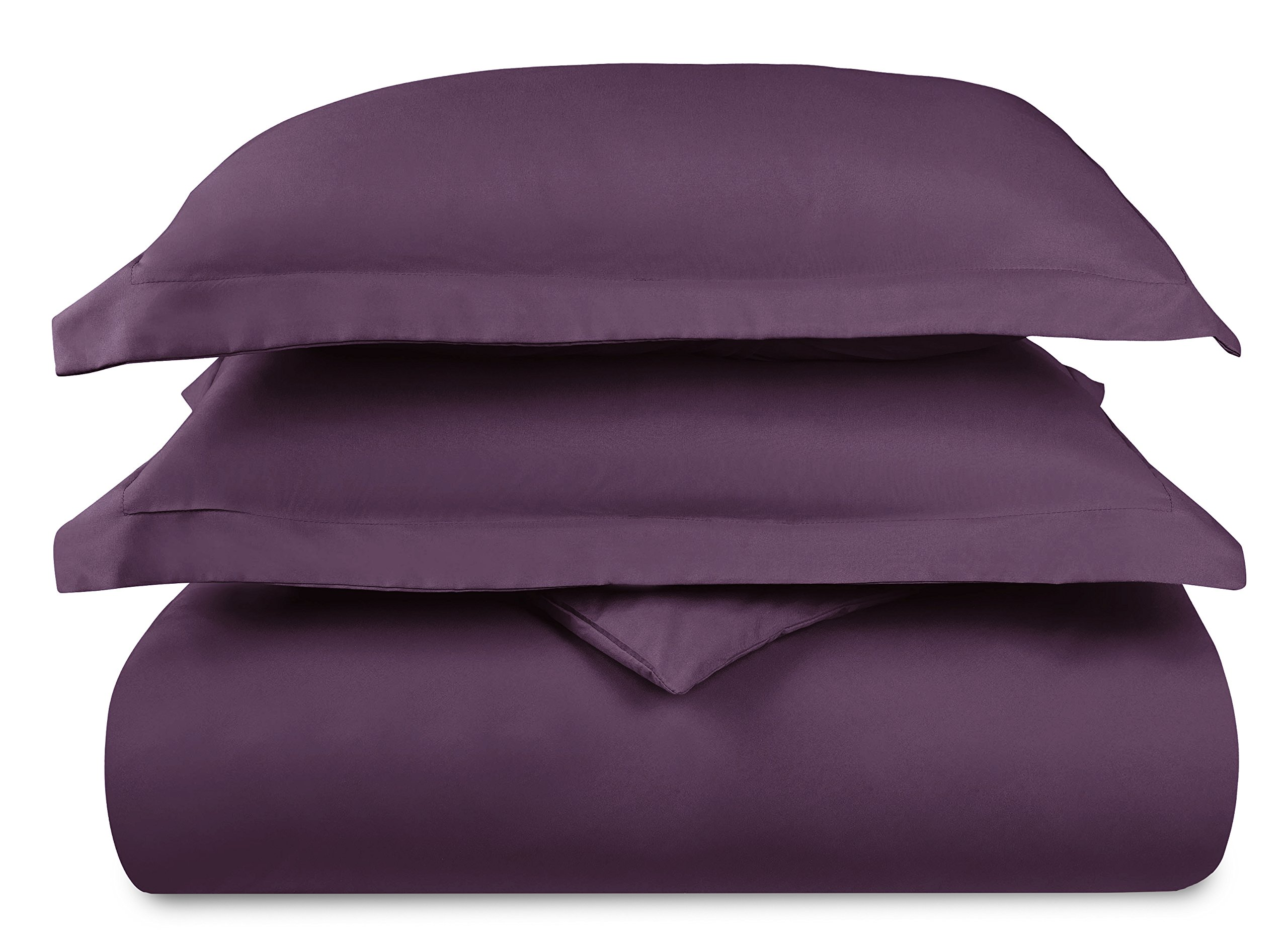 HC COLLECTION Hotel Luxury 3pc Duvet Cover Set-1500 Thread Count Egyptian Quality Ultra Silky Soft Premium Bedding Collection-King Size Eggplant by HC COLLECTION (Image #6)