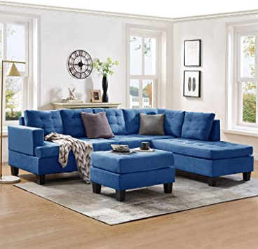 Amazon.com: Harper & Bright Designs Sectional Sofa With Chaise Lounge And Ottoman 3-Seat Sofas Couch For Living Room (Sea Blue): Furniture & Decor