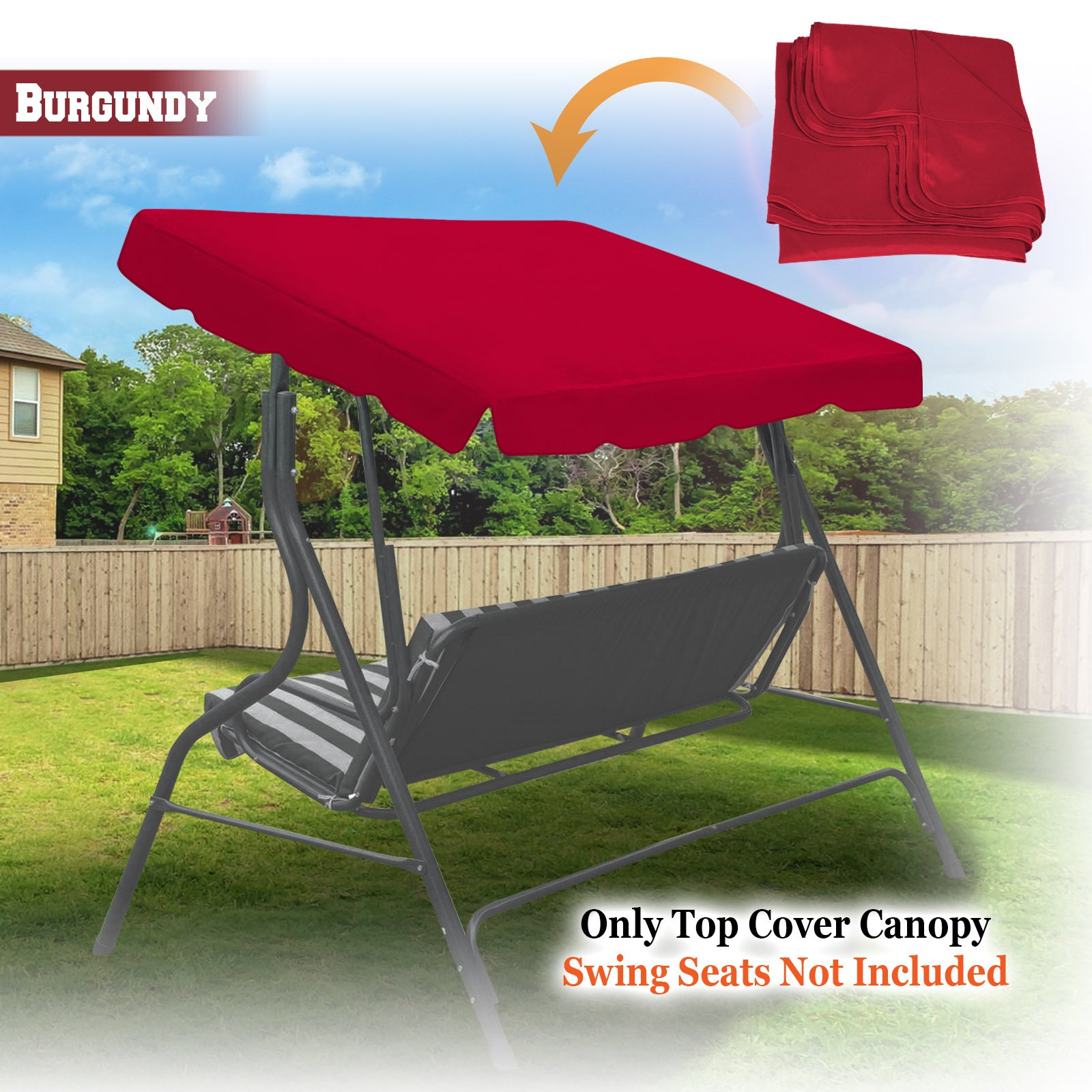 BenefitUSA Outdoor Patio Swing Canopy Replacement Porch Top Cover for Seat Furniture (77''x43'', Burgundy)