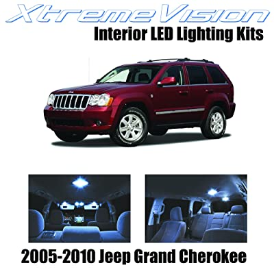 XtremeVision Interior LED for Jeep Grand Cherokee 2005-2010 (9 Pieces) Cool White Interior LED Kit + Installation Tool: Automotive