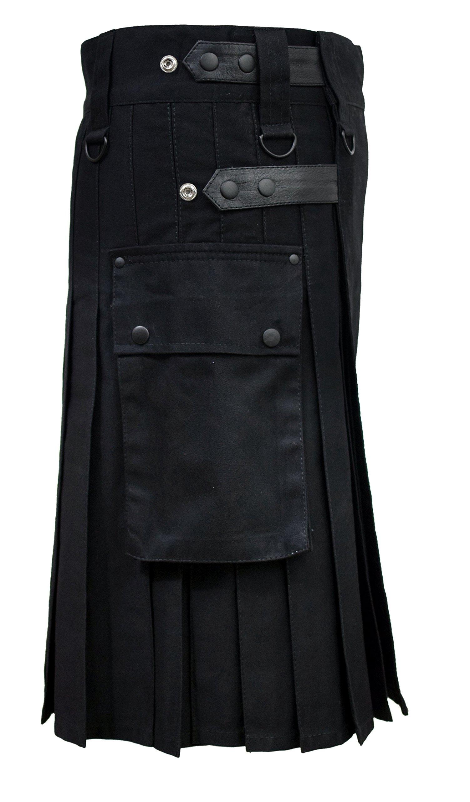 SHYNE Men Black Leather Straps Fashion Sport Utility Kilt Deluxe Kilt Adjustable Sizes (44'')