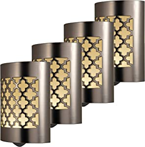 GE CoverLite LED Night Light, 4 Pack, Plug-in, Dusk-to-Dawn Sensor, Home Décor, UL-Listed, Ideal for Kitchen, Bathroom, Nursery, Bedroom, Hallway, 48675, Brushed Nickel | Moroccan, 4