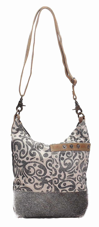 77df933608ef Myra Bag Floral Cowhide & Upcycled Canvas Shoulder Bag S-1126
