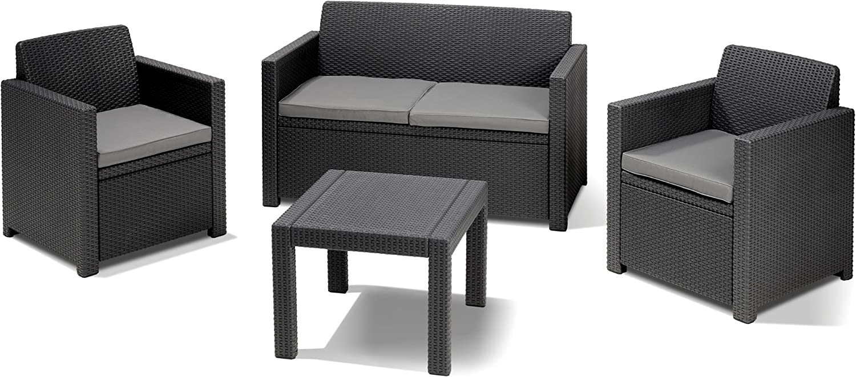 Allibert 213968 Set de mobiliario Exterior - Sets de mobiliario Exterior (Antracita, Gris, Polipropileno (PP)): Amazon.es: Jardín