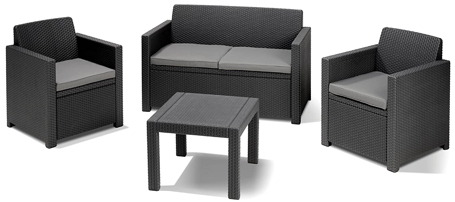 Allibert Lounge Set Alabama, Grau, 4-teilig