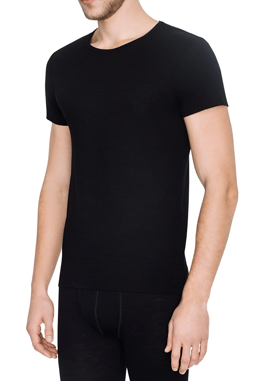 ABOUT 100% TEC Merino Wool Ultra Soft Mens undershirt Underwear short sleeves Crew Neck made in EU, Extra Quality
