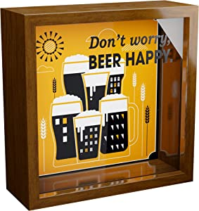 Beer Gifts | A 6x6x2'' Themed Shadow Box for Beer Lovers | Man Cave Wooden Home Decor | Beer Decoration for Men & Women | Novelty Present for Craft Beer Lovers | Funny Bar Beer Keepsake Picture Frame
