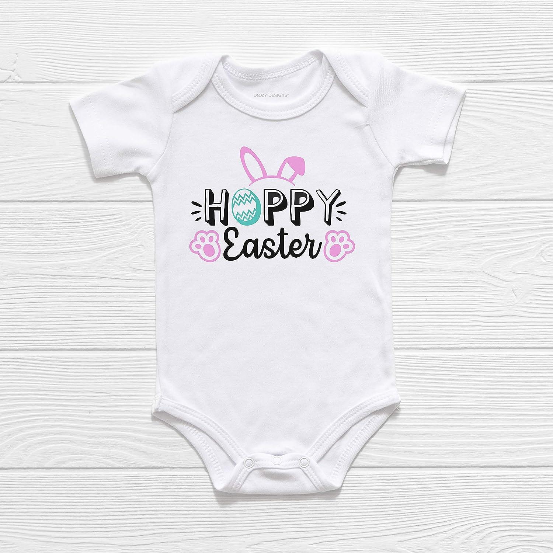 Pink Rabbit Ears Baby Grow Bodysuit Gift Personalised Easter Bunny Baby Vest