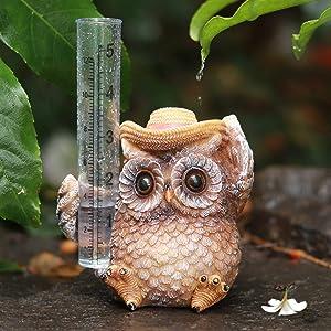 Aivanart Owl Rain Gauge Outdoor Garden Decor, Decorative Sculptures Statues for Yard Patio Lawn Garden Ornaments Rain Catcher Decorations