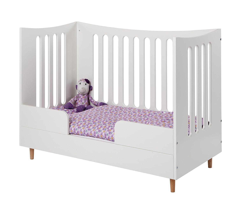Manis-h 10977-10+14877+10981-1+10199-1 Höhenverstellbarer Babybett mit offenem Giebel und Matratze, Absturzsicherung und Mini-Treppe, 70 x 140 cm, weiß