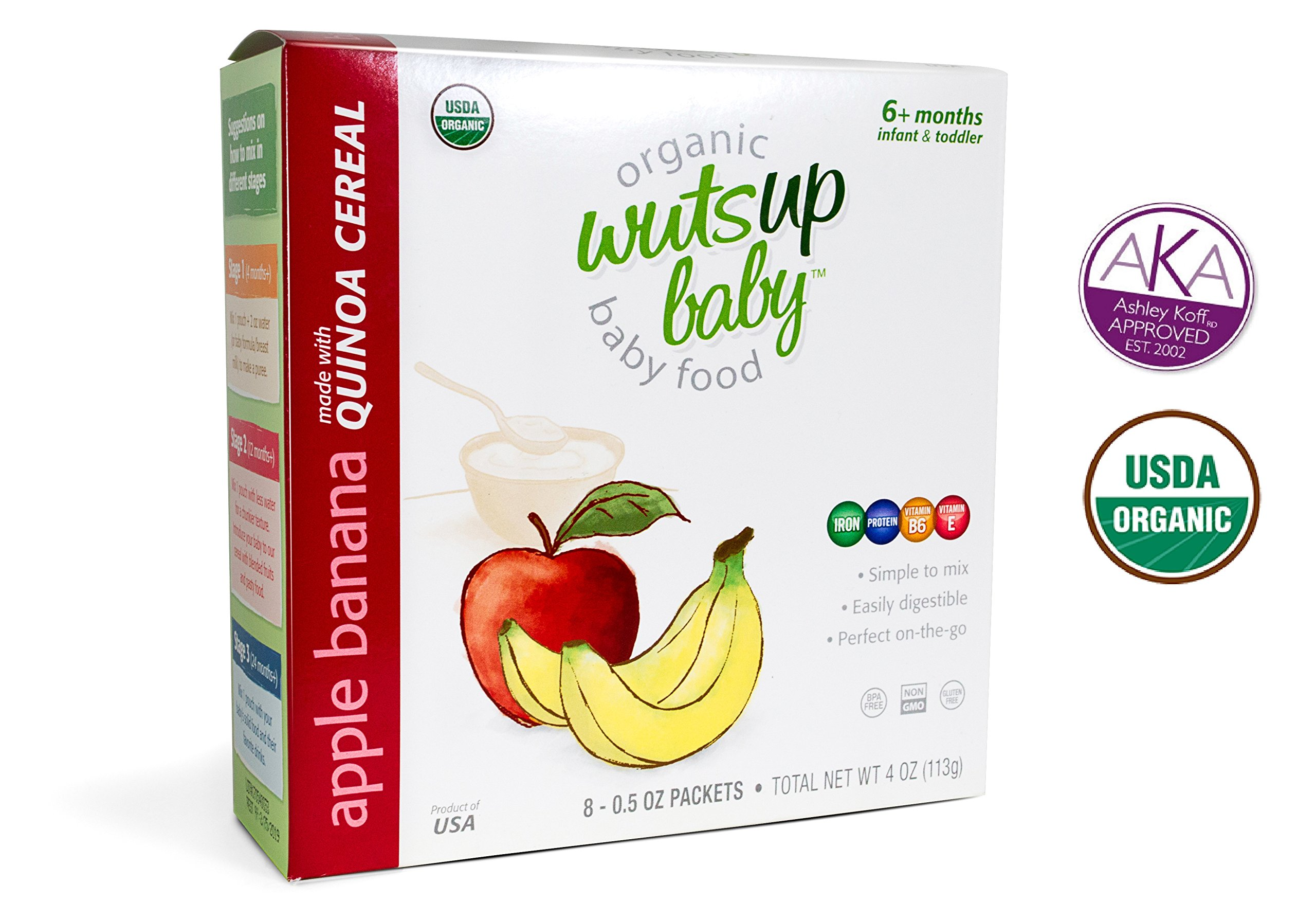 8x Organic Apple Banana Infant & Baby Cereal Travel Packs w/ Naturally Occurring Omega 3, 6, 9 Protein, Iron, Magnesium, B2. Easiest First Foods to Digest. By WutsupBaby – 4oz (8 pack x 0.5oz)