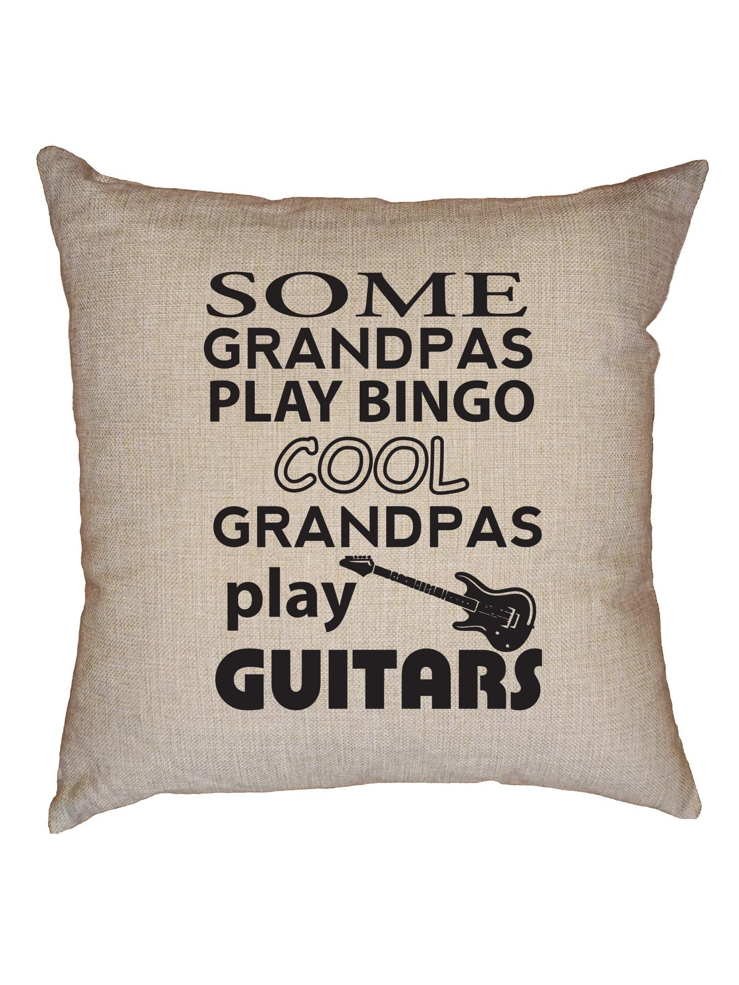 Hollywood Thread Some Granpas Play Bingo Cool Ones Play Guitars Decorative Linen Throw Cushion Pillow Case with Insert
