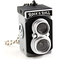 Mini Vintage Camera Toy Keychain Keyring with Flash Torch Charm Decoration BLACK/GREY