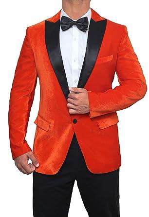 big sale b6c3d cd470 Decrum Taron Egerton Black Peak Lapel Kingsman Orange Mens Tuxedo Jacket, Orange - Tuxedo,