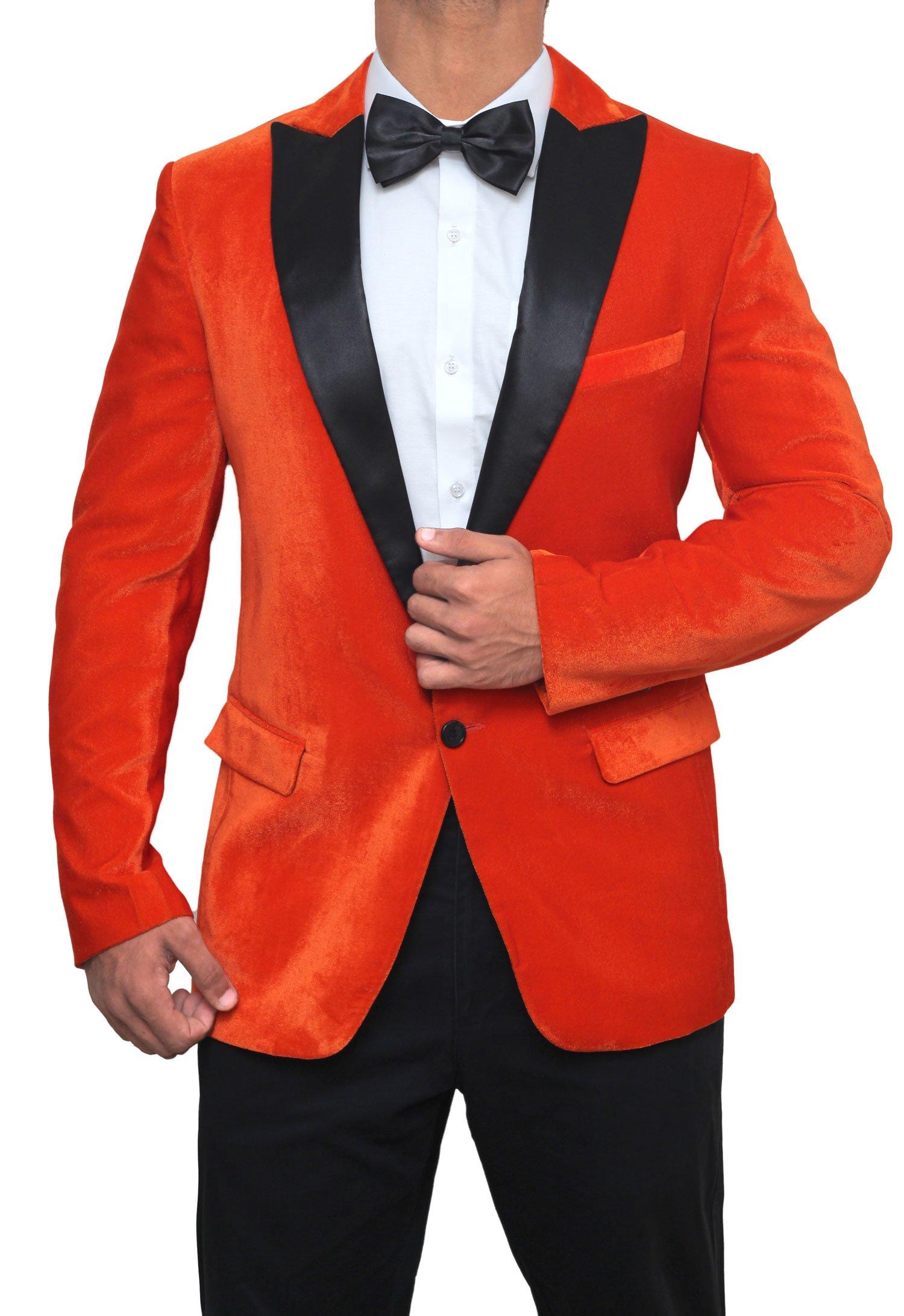 Decrum Prom Night Dinner Wedding Blazer Mens Tuxedo Jacket | Kingsman Orange, 38''
