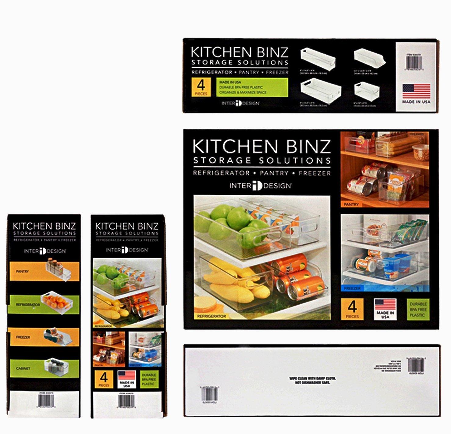 Amazon.com: InterDesign 4 Piece USA Made Stackable Kitchen Transparent  Storage Organizer Bins For Fridge, Freezer, Pantry And Cabinet  Organization: Kitchen ...