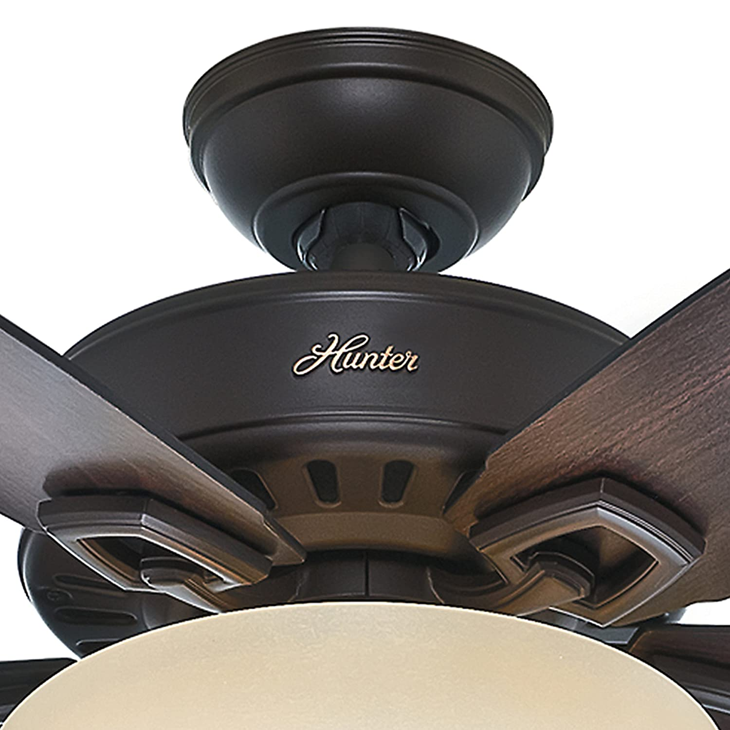 Hunter Fan 60in Great Room Ceiling Fan in Premier Bronze with Cased White Glass Light Kit, 5 Blade Renewed