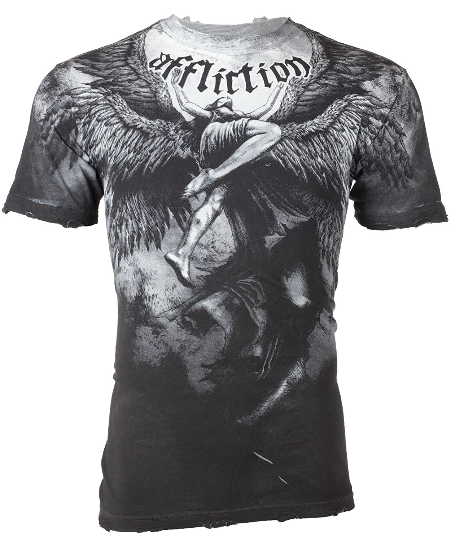 AFFLICTION Mens T-Shirt UPWARD Angel Wings GREY Tattoo Biker MMA UFC