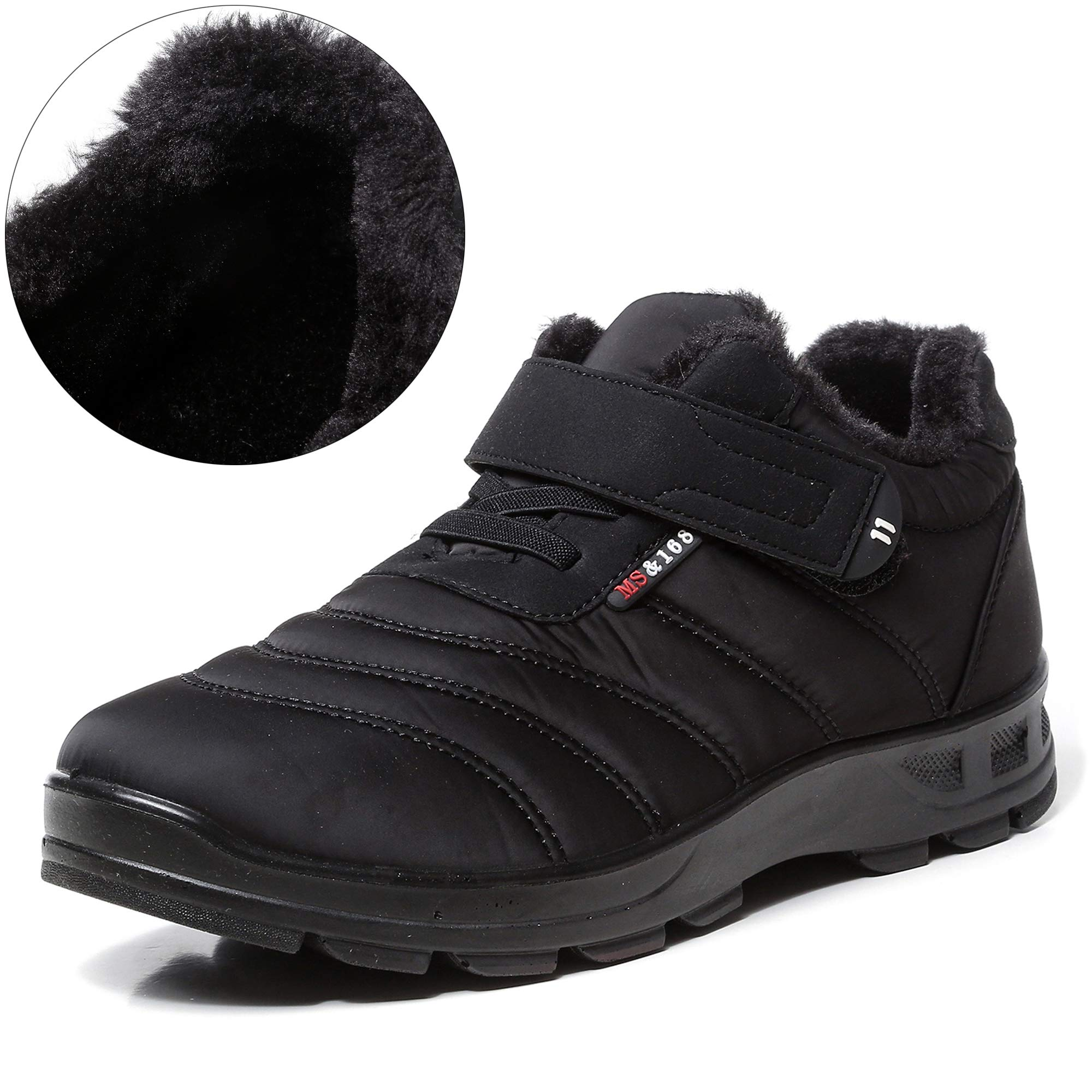 SCIEN Women's Snow Boots Waterproof Anti-Slip Winter Shoes Outdoor Warm Fur Lined Ankle Sneakers, Black 39