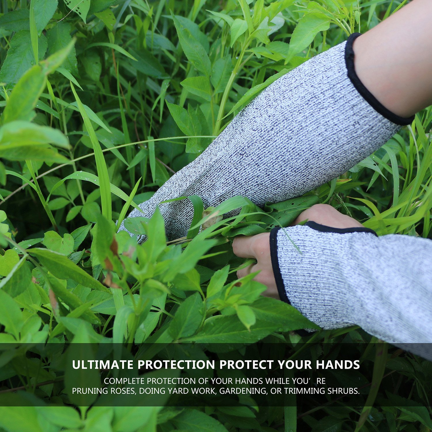 Cut Resistant Sleeves with Thumb Hole, Level 5 Protection, Slash Resistant Safety Protective Arm Sleeves, 14 inch long, Large (Arm width 4-8 inch) sold by Pair(2 Pieces) by G & F Products (Image #3)